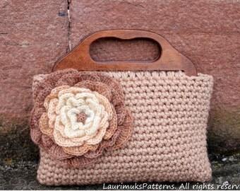 CROCHET PATTERNS for women - Flower Purse Bag pattern - Listing72