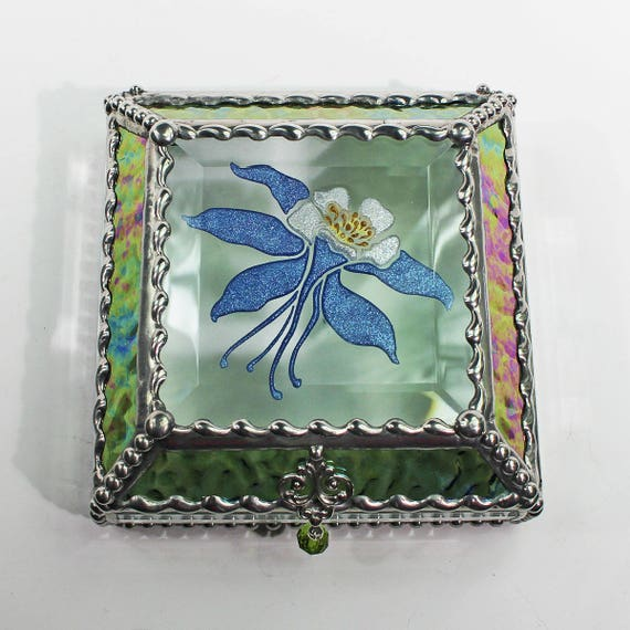 Etched, Hand Painted, Columbine,Flower,Stained Glass, Keepsake Box,Jewelry Box
