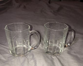 Set of 2 Vintage Glass Cups