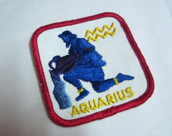 Vintage Aquarius Zodiac Embroidered Patch // Horoscope Embroidered Patch