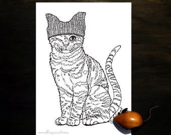 Pink Pussy Hat Cat - Adult Coloring / Colouring Page by ellaquaint
