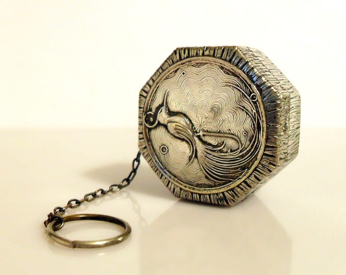 Antique 1920s Jonteel Rexall Art Deco Bird of Paradise Sheffield Silver Plated Powder Compact Dance on Finger Ring