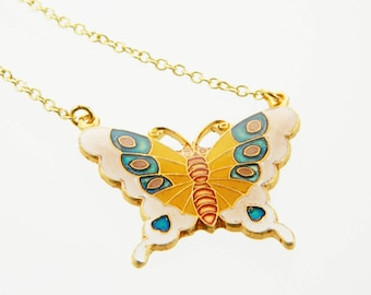Pink Butterfly Necklace - 18k Gold Filled