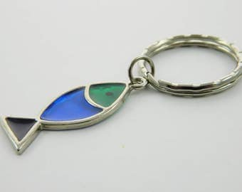 Stained Glass Fish Keychain