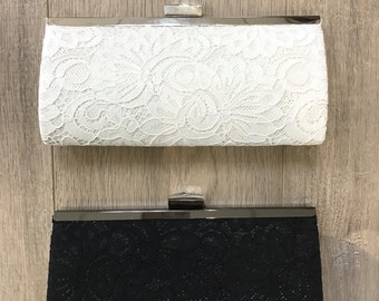 Black and white lace clutch, gift for bridesmaids, wedding party, wedding accessories, bridal accessories