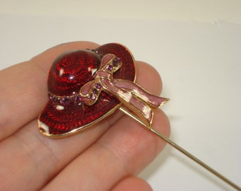 Vintage Enamel Red Large Hat Pin - Gold Tone Red Pin Jewelry - Retro Fashion Jewellery