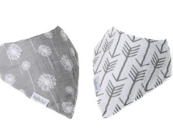 Gray Arrows and Gray Dandelion Set of 2 Bandana Bibs Cotton Muslin with Moisture Wicking Back with by Hold Me Close - Unisex