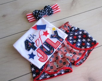 Girls 4th July Short Set/Coachella Style Shorts/Baby Girl 4th July Short Set