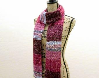 Crochet Cotton Scarf - Long Knit Scarf - Handmade Colorful Scarf - Boho Scarf