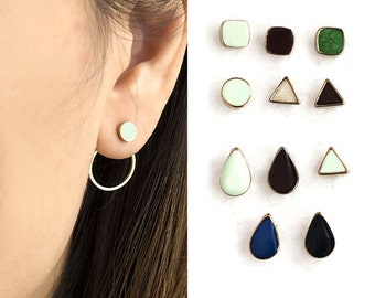 Tiny Color Stud Front Round Circle Hoop Back Earrings, Geometric Inspired Ear Jacket, Bridesmaid Sister Girlfriend Gift, ej de gj