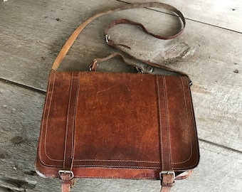 Rustic Brown Leather Briefcase, School Satchel, Messenger Briefcase, Made in England