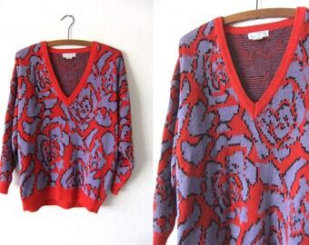 Roses Print V Neck Vintage Sweater - Pastel Goth Soft Grunge Oversize Jumper - Baggy Womens Small