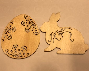 set of 2 laser cut easter egg and bunny ornaments embellishments ready to decorate, 3 inch tall (A2)
