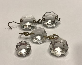 mix of 5 vintage glass crystal bead chandalier 14-16 mm (A4)