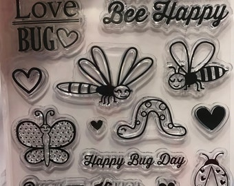 13 piece Love Bug, Bee Happy and more clear stamp set, 10-60 mm