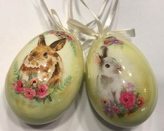 set of 2 large decoupage Easter Egg ornaments (R1)