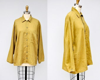 FLAX Linen Shirt Jacket - Olive Green Linen Shirt - Flax Jeanne Engelhart - Designer Linen Duster - Oversized Lagenlook Unisex - Boho - S M