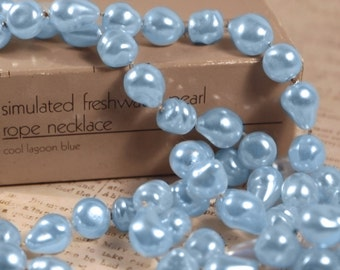 Avon Simulated Freshwater Pearl Rope Necklace Cool Lagoon Blue - Vintage 1986