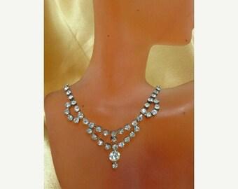 On Sale Vintage Sparkling Prong Set Rhinestone Necklace K # 64