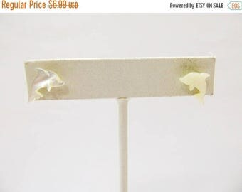 On Sale Vintage Small Carved Mother of Pearl Dolphin Earrings Item K # 2423