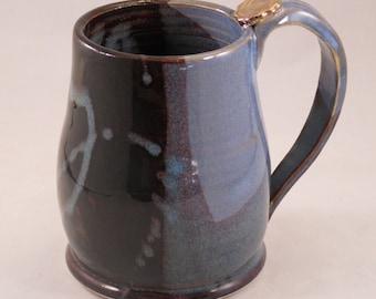 Large Coffee Mug, Large Tea Mug, Blue Brown Mug, Handmade Ceramic Pottery