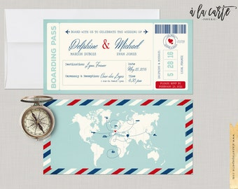 Destination Wedding Boarding Pass Invitation featuring World map for destination wedding or event Save the Date Travel Cruise international