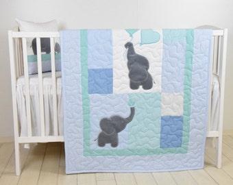 Baby  Quilt,  Elephant Blanket, Mint Blue Gray Crib Bedding, Safari Nursery