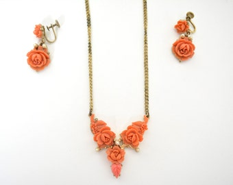 Vintage 1940s 1930s Coro Necklace and Earrings Set Demi Parure Faux Coral Pressed Early Plastic