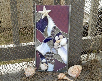 Purple Lovers Stained Glass Ocean Sun Catcher embellished with Seashells, Starfish & Sand Dollar