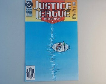 Justice League America 35, 1990, Vintage DC comics, Batman , Dc superheroes, Adam Hughes, Blue Beetle, geekery