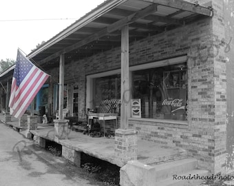 8 x 10 photo, old building and American Flag photograph, Reeds Spring, MO