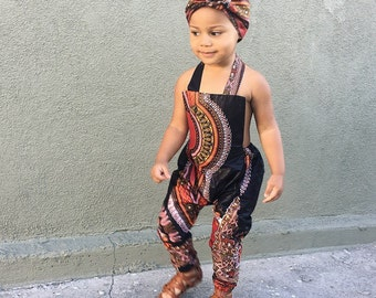 Baby girl toddler vintage inspired playsuit romper jumpsuit  african prints 0-3m - 5T Black Dashiki