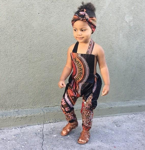 African Ankara Dashiki Print Jumpsuit Outfit Baby Girl