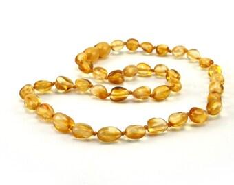 Baltic Amber Necklace Teething Baby Toddler Child Polished Beans Lemon Beads