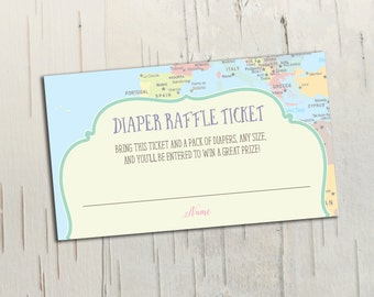 Hot Air Balloon Diaper Raffle Ticket || Oh the Places You'll Go || Travel Baby Shower or Birthday Invitation