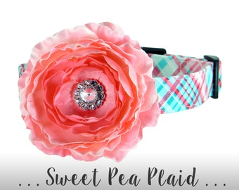 Aqua and Pink Plaid Flower Dog Collar Set; Rhinestone Flower Dog Collar: Sweet Pea Plaid