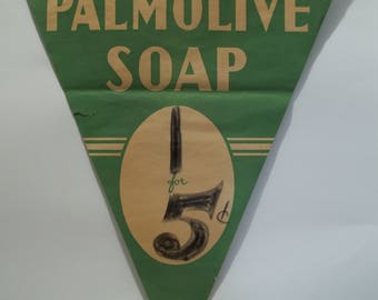 Vintage Grocery Store Advertising Pennant Banner Palmolive Soap