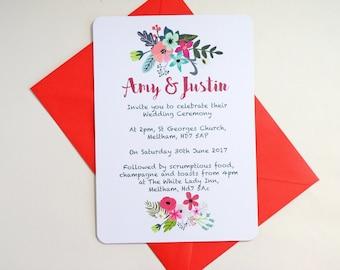 Summer Florals Wedding Ceremony Reception Initations