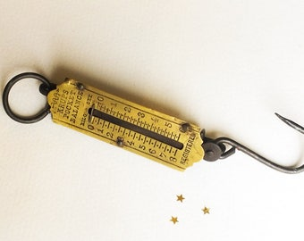 Vintage German Pocket Scale Krups, Hanging Iron and Brass 1940s WW2 Balance Scale, Rustic Industrial Decor, Collectable