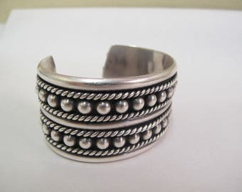 Vintage Sterling Silver Heavy Taxco Beaded Cuff Bracelet 91g Signed FHV