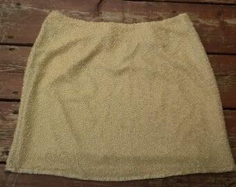 Vintage 80s Beaded Silk Mini Skirt Champagne Glam Skirt by CACHE Size 8 Medium
