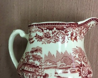 "RED TOILE CREAMER  Royal Staffordshire ""Tonquin"" Dinnerware by Clarice Cliff  Made in England"