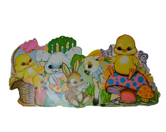 vintage die cut Easter bunny rabbit, lamb, chicks: set of four vintage Easter decorations