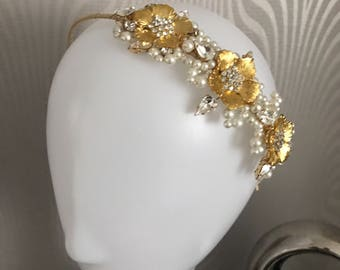 bridal headband , Bridal hair accessory , Gold flower headband , Wedding headband.