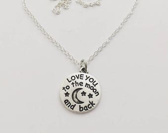 I love you to the moon and back necklace, Tibetan Silver
