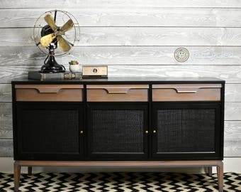 Black and Gray Mid Century Modern Credenza
