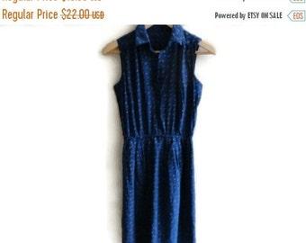 SALE Vintage Secretary Dress Navy Blue 80s Small Medium