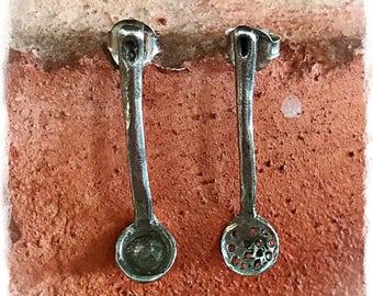 Earrings silver ladles. Outstanding scoops kitchen. Kitchen ladles Sterling Silver earrings. Outstanding scoops silver closing pressure