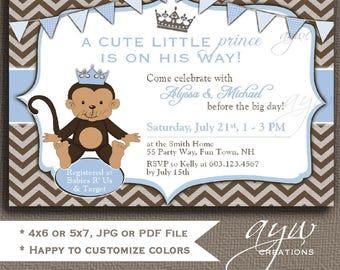 Monkey Baby Shower Invitation Monkey Prince Baby Shower Invitations Printable Invites Prince Monkey Baby Shower Boy Chevron Blue Brown