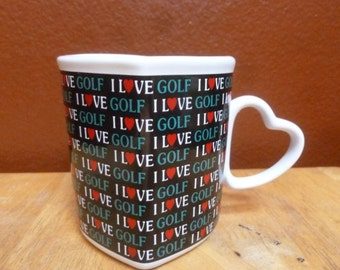 Golf mug I Love Golf Heart shape with hearts Papel Freelance